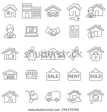 Real Estate line icons set.Vector - stock vector