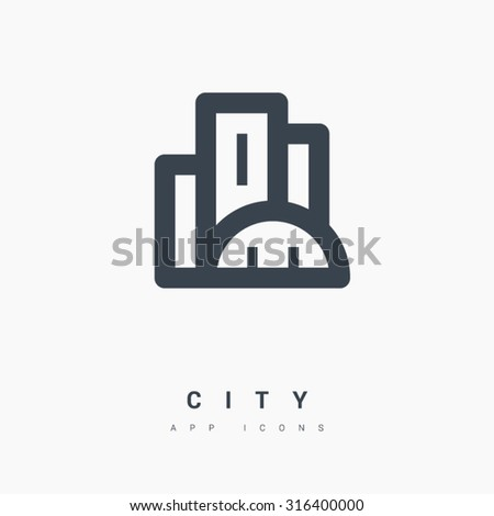 Real Estate line vector icon for websites and mobile minimalistic flat design. Skyscrapers building on horizon realty icon. Business city Commercial property. Modern trend concept design style symbol - stock vector