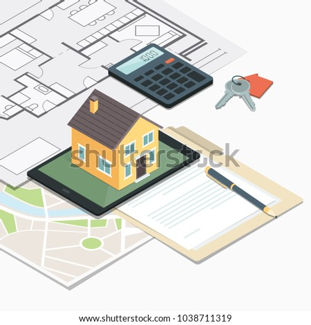 Real Estate, Loan And Home Insurance: Model House On A Table, House Plan