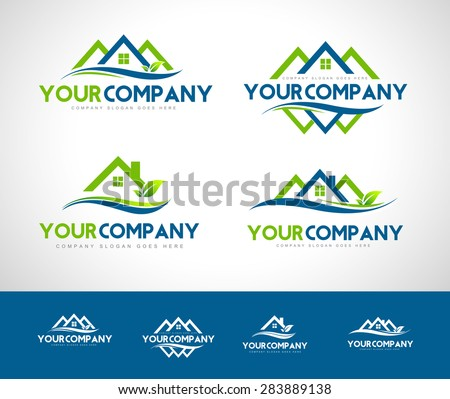 Real Estate Logo. Creative real estate icon with green leafs - stock vector