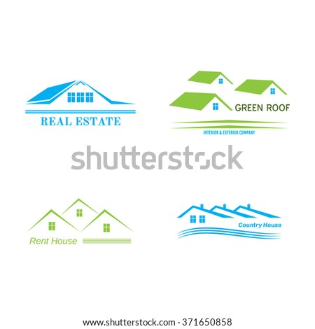 Real Estate logo design. House abstract concept icons