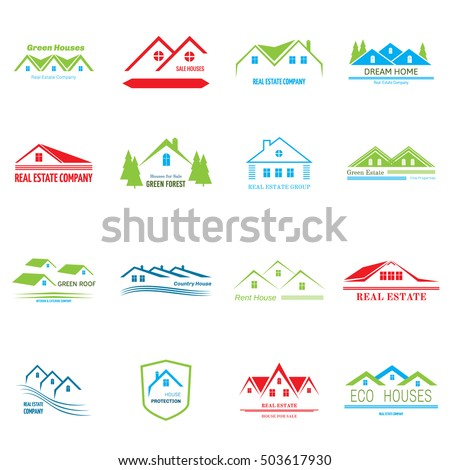 Real Estate logo design. House abstract concept icons, vector illustration