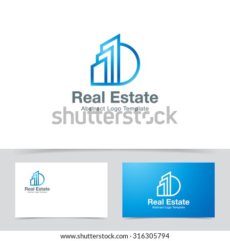 Real Estate logo design template. Corporate branding identity - stock vector