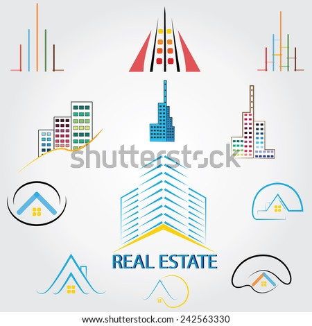 real estate logo,house property ,Skyscrapers business logos - stock vector
