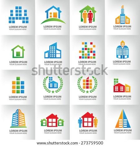 Real estate logo template design,clean vector - stock vector