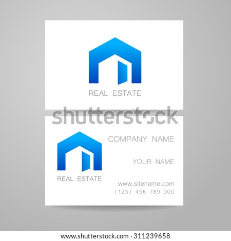 Real Estate - logo. Template design of corporate identity. Business Card. - stock vector