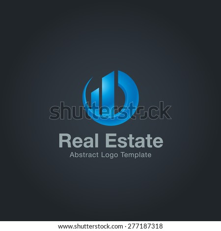 Real Estate logo template on dark background. Corporate branding identity - stock vector