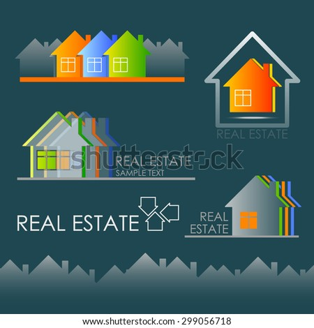 Real Estate logos set. vector design