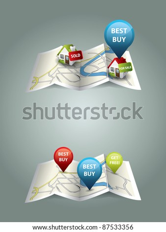 Real estate maps - stock vector