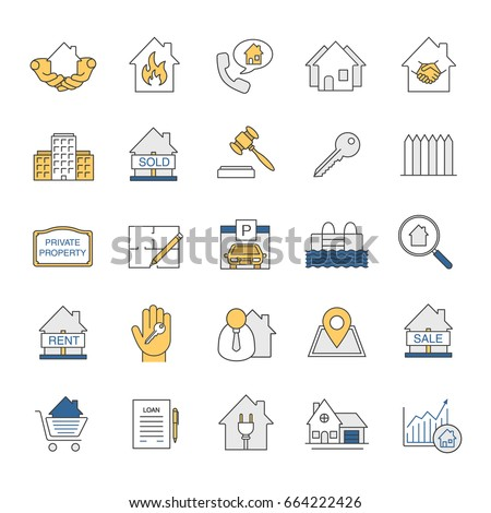 Real estate market color icons set stock vector royalty free real estate market color icons set property development building business home house malvernweather Gallery