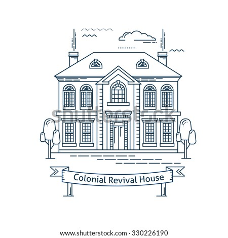 Colonial architecture stock images royalty free images vectors shutterstock - Colonial home decorating concept ...