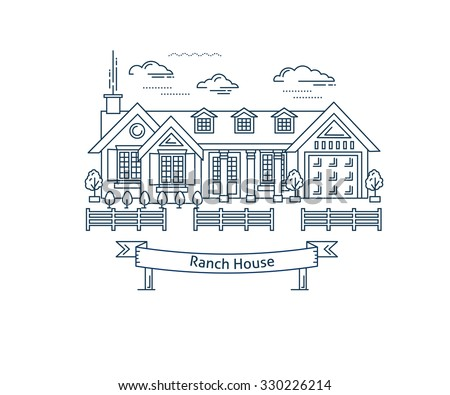 Real estate market concept flat line vector architecture design. Outlined stroke icon. Countryside Ranch house. Property investment. For poster, flyer, web, banner, header, hero image, motion design - stock vector