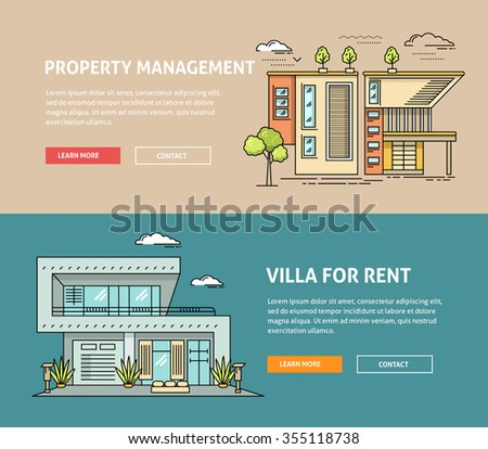 Real estate market flat line web banner. Flat linear vector design for hero or header image. Outlined stroke realty icons. House for sale concept. Property investment, buy, sell, rent house, apartment - stock vector