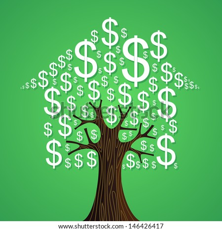 Real estate money tree isolated background design. Vector file layered for easy manipulation and custom coloring.