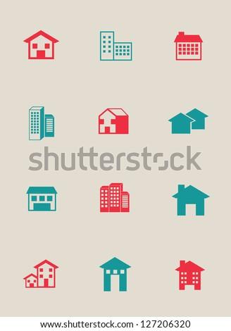 Real estate over white background vector illustration - stock vector