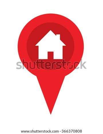 Real Estate Red Pin Symbol - stock vector