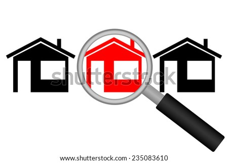Real Estate Search. Street with houses and magnifying glass. Vector illustration - stock vector