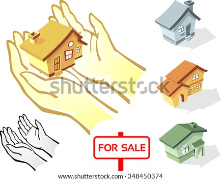 Real Estate Set-Collection of cartoon style houses, hands on a separate layer - stock vector