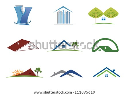 Real estate set of symbols for logo designing