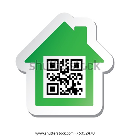 "Real estate signboard or sticker with ""House for Sale"" data in qr code. - stock vector"