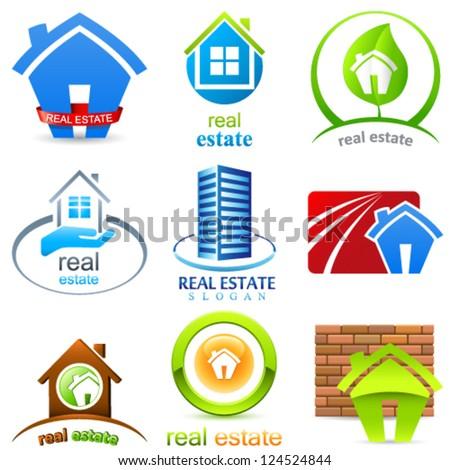 real estate signs set - vector illustration - stock vector