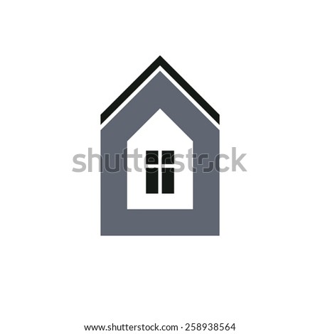 Real estate simple icon isolated on white background, abstract house depiction. Property symbol, conceptual building sign.