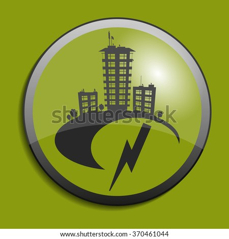 Real estate symbol on circle button. Vector illustration - stock vector