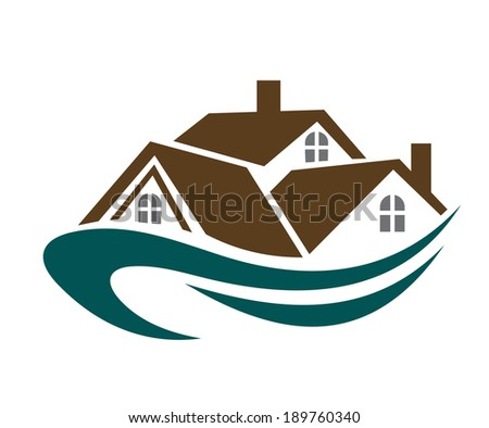 Real estate symbol or logo - house roofs with waves for design - stock vector