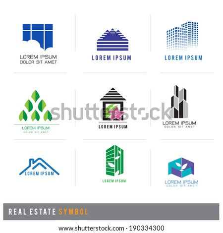 real estate symbol set, vector illustration