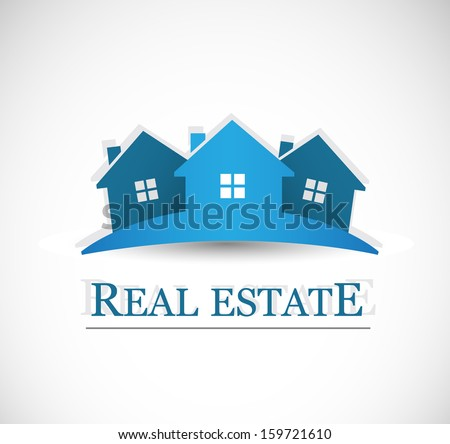 Real estate symbolical image isolated on white background. VECTOR illustration. - stock vector
