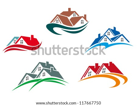 Real estate symbols - roofs of houses and buildings, such a logo idea. Jpeg version also available in gallery - stock vector
