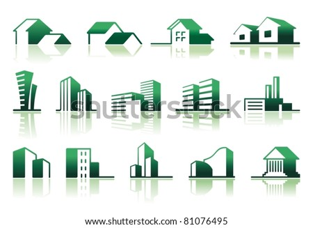 Real estate symbols Simple symbols of real estate - stock vector