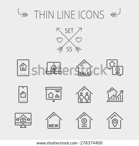 Real estate thin line icon set for web and mobile. Set includes- electronic keycard, business card, graphs, new house, couple, dollar, locator pin icons. Modern minimalistic flat design. Vector dark - stock vector