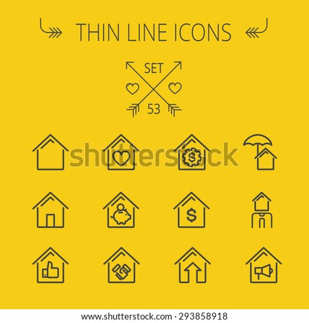 Real estate thin line icon set for web and mobile. Set includes- house heart, umbrella, dollar sign, piggy bank, megaphone icons. Modern minimalistic flat design. Vector dark grey icon on yellow - stock vector