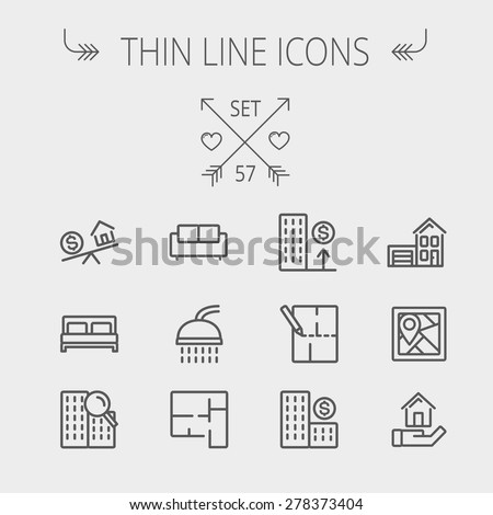 Real estate thin line icon set for web and mobile. Set includes- sofa, double bed, shower, drawing, buildings, house with garage icons. Modern minimalistic flat design. Vector dark grey icon on light - stock vector