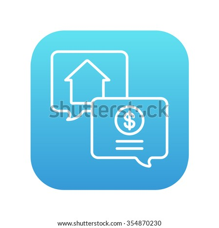 Real estate transaction line icon for web, mobile and infographics. Vector white icon on the blue gradient square with rounded corners isolated on white background. - stock vector