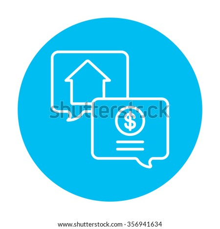 Real estate transaction line icon for web, mobile and infographics. Vector white icon on the light blue circle isolated on white background. - stock vector