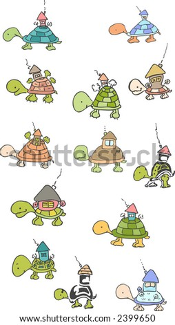 real estate turtle - stock vector