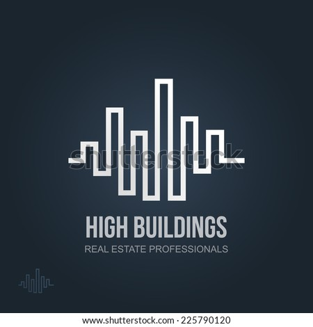 Real Estate Vector Icon. Business logo template for Real Estate, brokerage, building & renovation businesses. Business graphics. Image may be used as web site or business card element. Sample text.  - stock vector