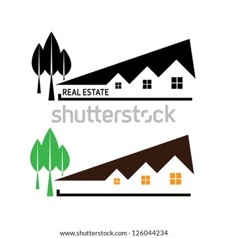 Real estate. Vector illustration house and tree on white background - stock vector