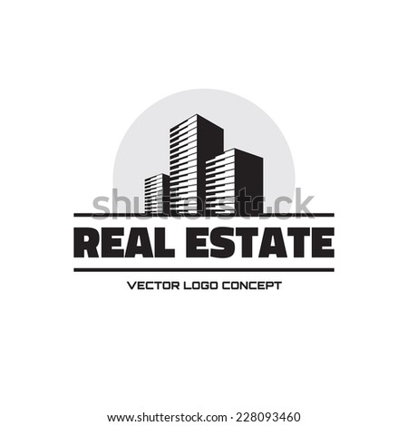 Real Estate - vector logo concept design. Modern buildings vector illustration. Vector logo template. Abstract vector logo of buildings.  - stock vector