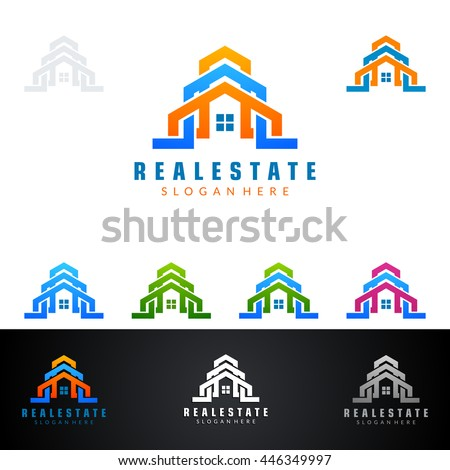 real estate vector logo design, abstract building with line shape represented strong and modern realty logo design