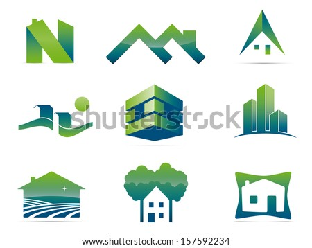 Real Estate Vector Logo Design Elements. Set of nine stylish realty and construction symbols, easily editable with global color swatches. - stock vector