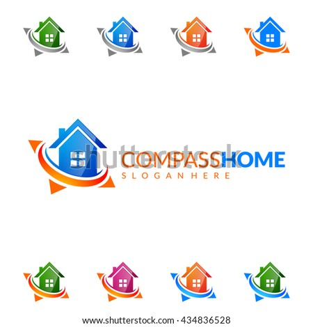 Real estate vector logo design, simple realty with compass and house represented strong, location,searching and modern real estate - stock vector