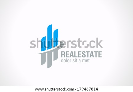 Real Estate vector logo design template. Realty abstract symbol. Business Corporate sign. Financial Stock Exchange concept icon. - stock vector