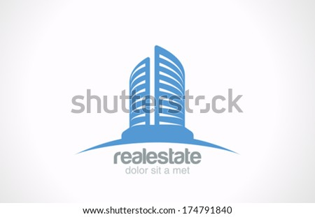 Real Estate vector logo design template. Skyscraper Business abstract creative concept symbol. Realty Building Silhouette sign on horizon as logotype idea. Architect Construction Idea. - stock vector