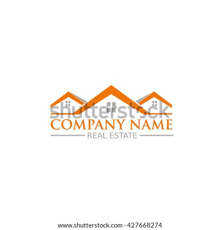 Real estate vector logo with roofs, houses and windows