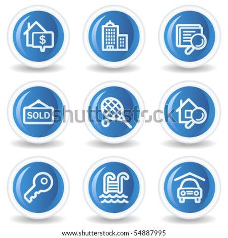 Real estate web icons, blue glossy circle buttons - stock vector