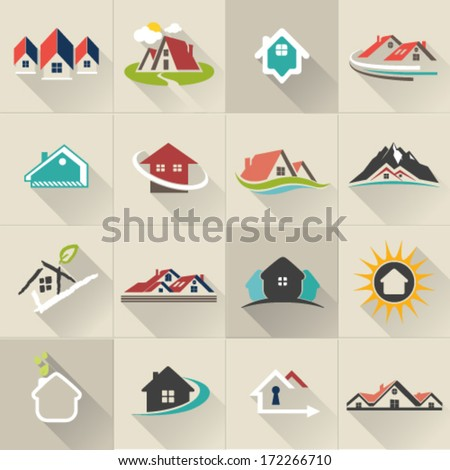 Real Estate web Icons set and vector logos - stock vector