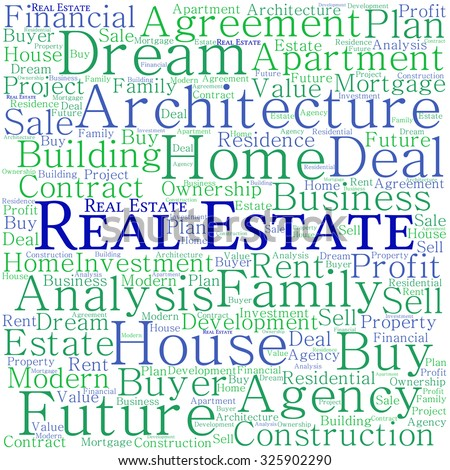 Real Estate word cloud on a white background.  - stock vector